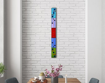 3 FT Geometric Wall Art. Abstract Wall Decor. Fused Glass Panel. Horizontal Wall Art. Home Decor. Vertical Wall Art. Geometric Glass Panel.