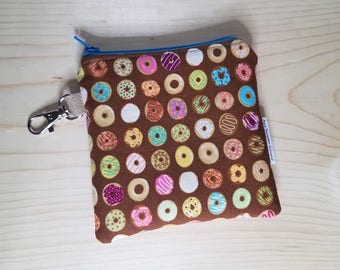 Chocolate Donuts Coin Purse - Doughnut - Dessert - Keychain - Change purse - Zippered Bag - Jelly - Icing - Strawberry - Vanilla - Lemon