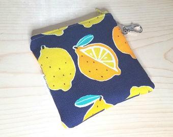 Lemons Coin Purse - Canvas - Citrus - Keychain - Change purse - Zippered Bag - Summertime - Limoncello - Lemon - Gifts under 10