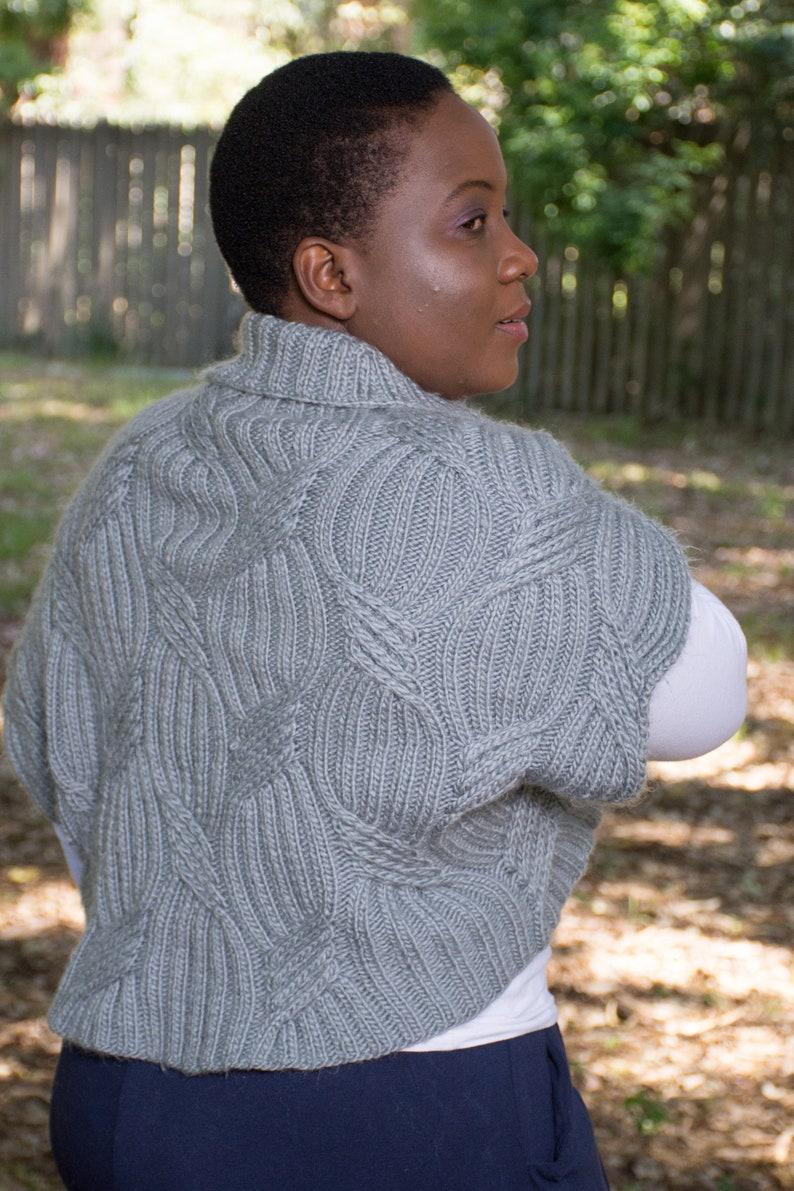 Thenjie Shrug Knitting Pattern - Chunky Cabled Bolero Knitting Pattern