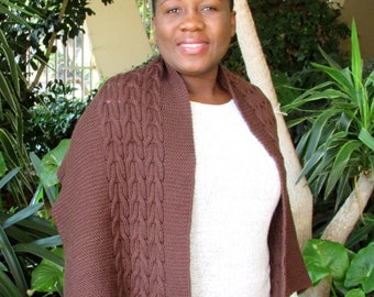 Thando Wrap Knitting Pattern - Reversible Cabled Knit Wrap