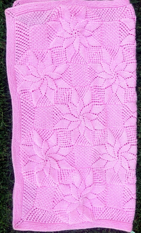 Double Star Baby Blanket Knitting Pattern Vintage Style Etsy