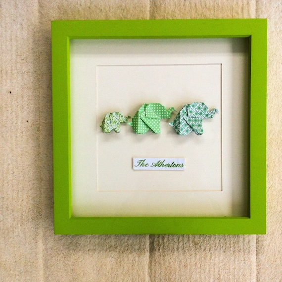 Origami Elephant Family Picture Frame Personalised New Etsy