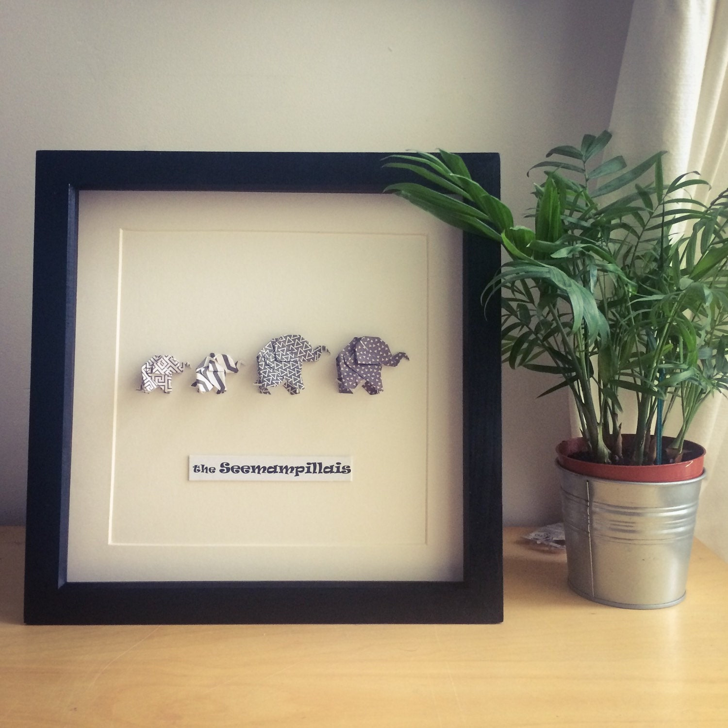 Origami Elephant family picture frame personalised new | Etsy