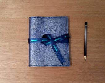 A6 leather sketchbook in blue and silver kangaroo hide personalised embossing
