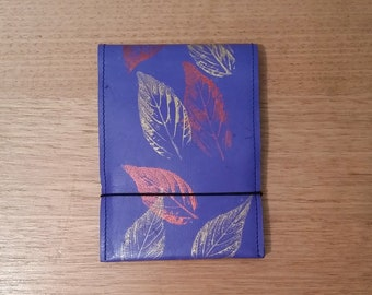 Leather spiral pocket notebook - blue with metallic leaf print