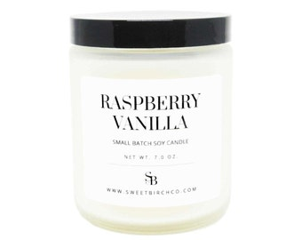 Raspberry Vanilla Candle - Soy Candles - Raspberries & Cream - Easter Candles - Birthday Gift - Easter Basket Ideas