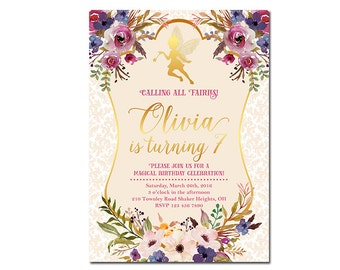 Fairy Birthday Invitation, Fairy Garden Invitation, Fairy Woodland Invitation, Fairy Floral Invitation, Girl invitation, Magical birthday