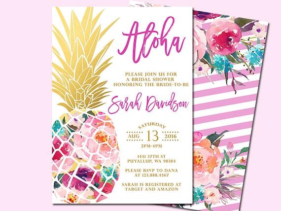 pineapple bridal shower invitation tropical aloha bridal etsy