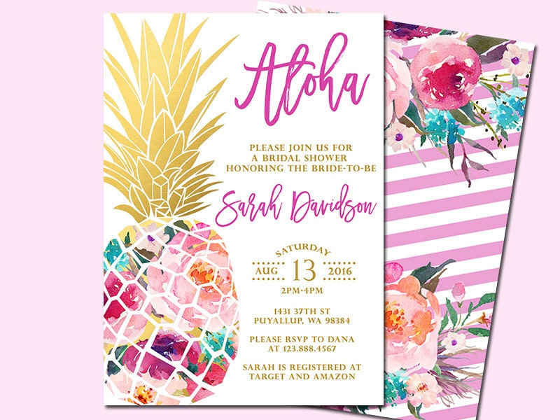 68c35094e31 Pineapple Bridal Shower Invitation Tropical Aloha Bridal