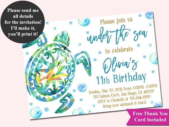 Turtle invitation under the sea birthday invitation aloha etsy image 0 filmwisefo