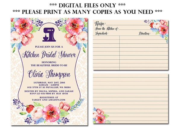 Kitchen Bridal Shower Invitation With Recipe Card Stock The Etsy