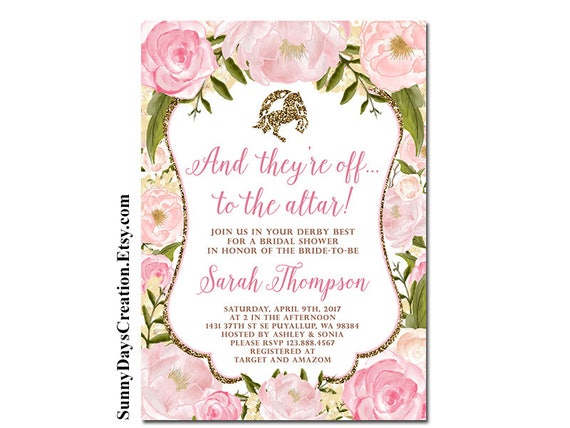 Kentucky derby bridal shower invitation and theyre off filmwisefo