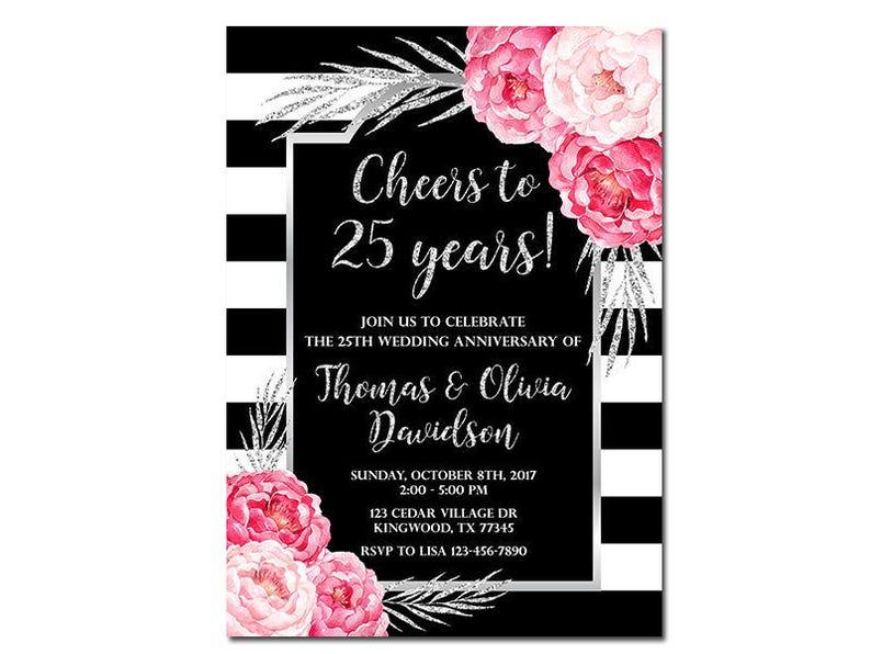 25 Inviti Anniversario Di Matrimonio Cheers A 25 Anni Rose Etsy