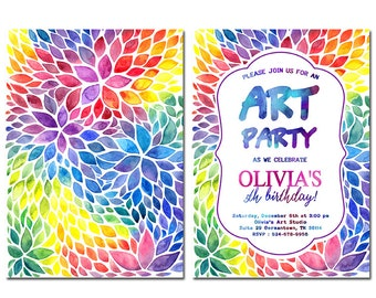 Art Party Invitation, Painting Birthday Party Invitation, Printable Birthday Invitation, Colorful invitation, Art birthday, Colorful party