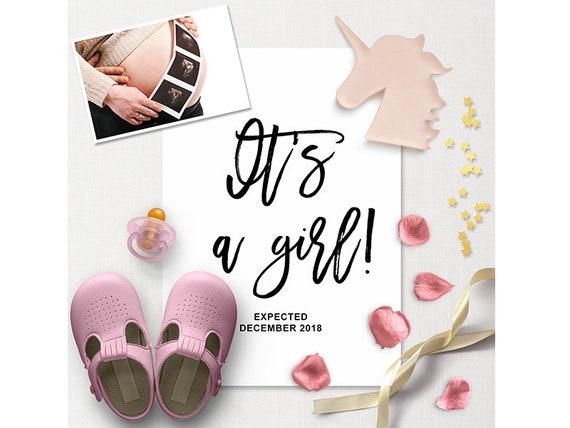 it s a girl pregnancy announcement calendar social media etsy