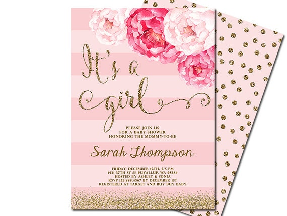 It S A Girl Baby Shower Invitation Blush Pink Gold Etsy
