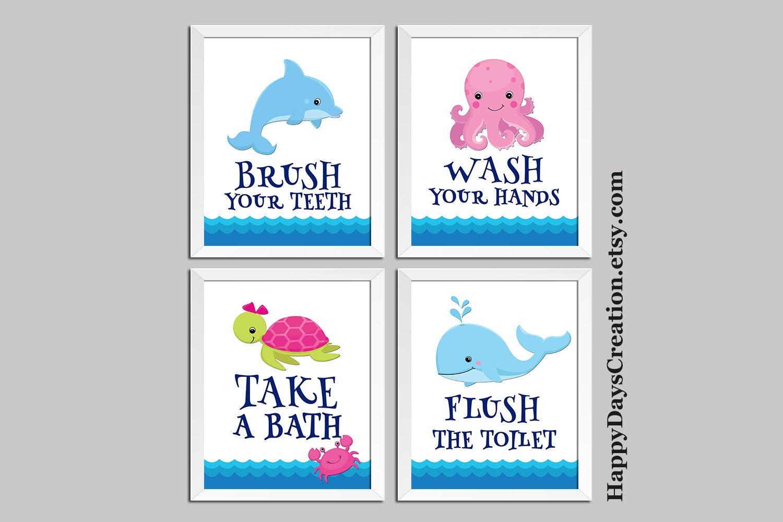 Turtle Bathroom Decor: Whale Dolphin Turtle Octopus Bathroom Decor Bathroom Rules