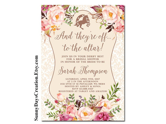 Kentucky derby bridal shower invitation and theyre off etsy image 0 filmwisefo