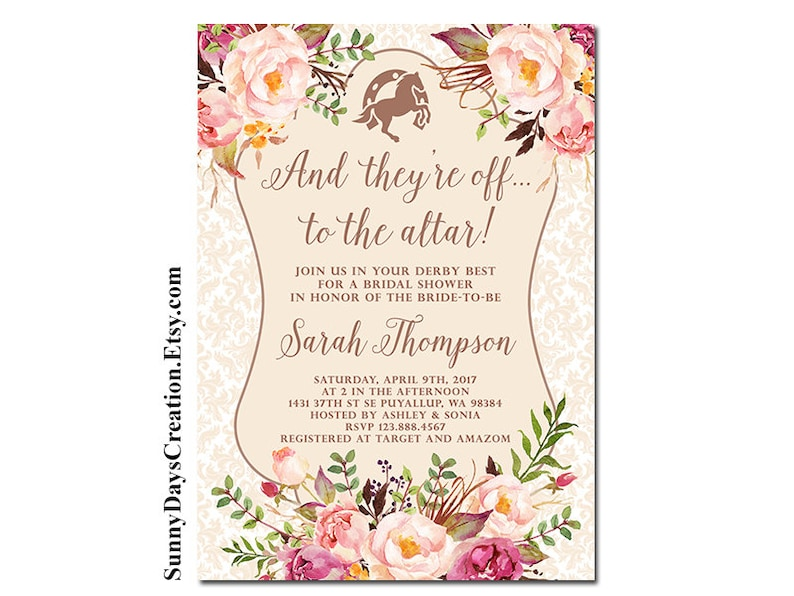 9e455b4fb3e5 Kentucky Derby Bridal Shower Invitation And they re off