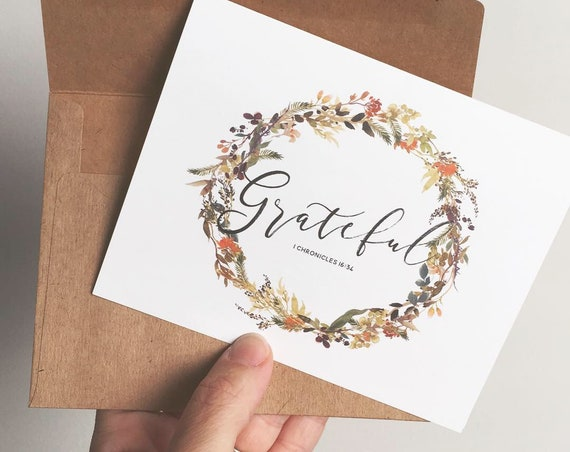Grateful Cards, Thank You Cards, Thanksgiving Cards, Notecards, Stationery, Encouragement Cards, Fall Wreath Cards, Christmas gifts