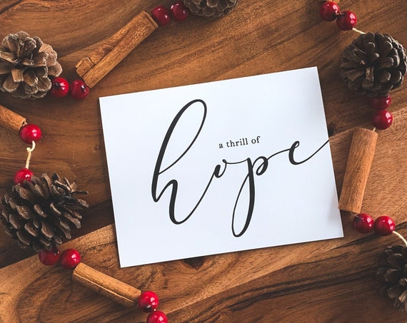 Thrill of Hope Christmas Cards, Modern Black and White Christmas Thank You Notes, Thank you cards, Christmas Stationery, Note cards
