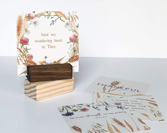 Scripture Cards with Display Block, Set of 4 Bible Verse Cards, Christian Gift, Thanksgiving cards, Gifts for Mom, Christmas Gifts, Office
