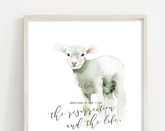 Easter Printables - Easter Bunny - Watercolor Lamb Printable - Easter Bible Verse - Nursery Wall Art - Printable Easter INSTANT DOWNLOAD