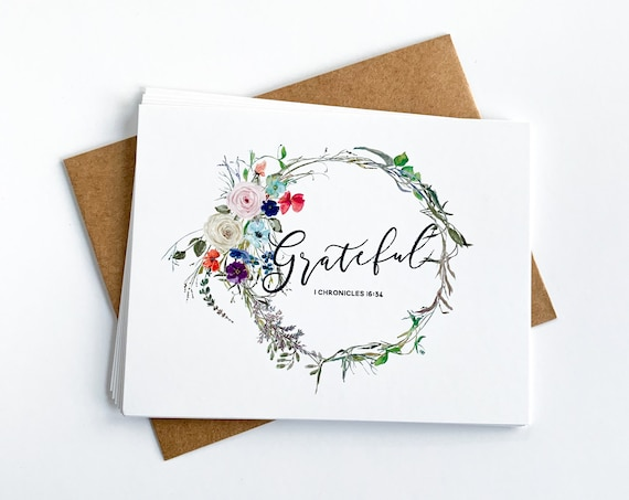 Thank You Notes, Spring Note Cards, Flat Stationery, Grateful Notes, Grateful Cards, Encouragement Notes, Blank Back Cards, Christian Gifts