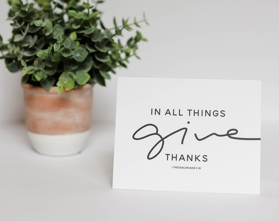 Thank You Cards, In All Things Give Thanks Stationery Set, Blank Inside Cards, Notecards, Thanksgiving Cards, Thank You Notes, Thanksgiving