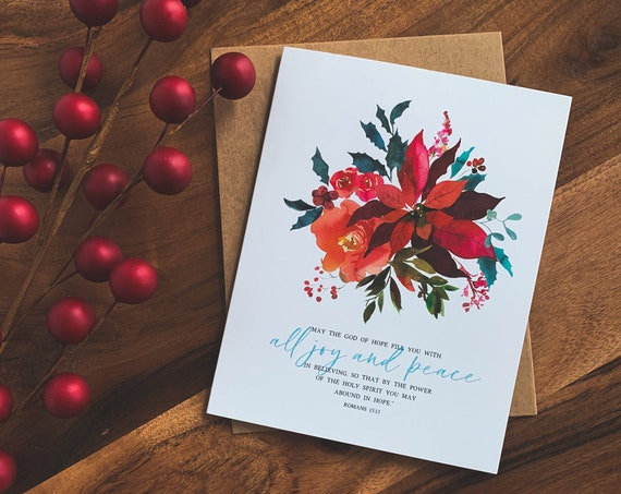 Christmas Cards, Romans 15 Notecards, Wreath Card Set, Winter Cards, Watercolor Stationery Set, New Years Card, New Years