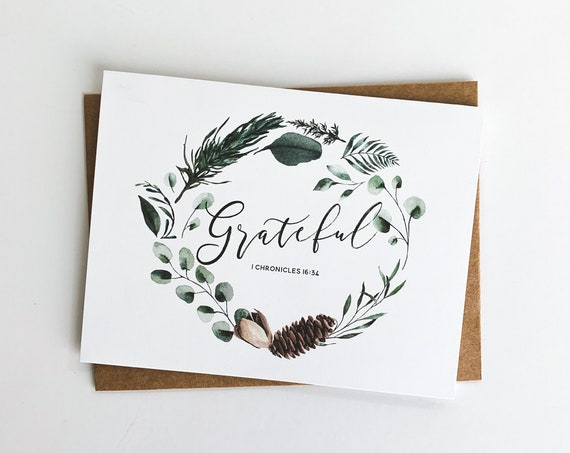 Grateful Christmas Cards, Christmas Thank You Notes, Thank you cards, Eucalyptus Winter Wreath, Flat Christmas Stationery, Note cards