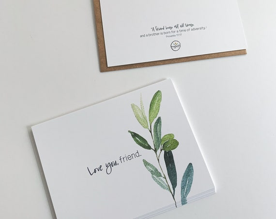 Flat Stationery, Love you friend Flat Cards, Valentine's Notes, Watercolor Greenery, Friend Gift, Friendship, Encouragement Cards