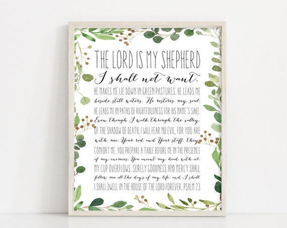 "Psalm 23 Scripture Wall Art - Greenery - Black and White Printable Art -  Psalms Bible Verse - 8x10"" Digital Print - INSTANT DOWNLOAD"
