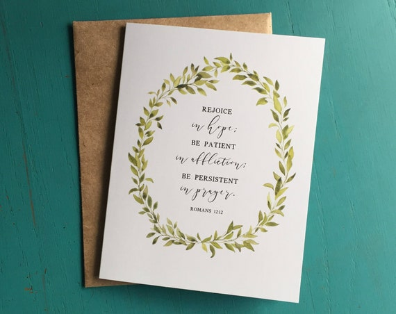 Thank You Cards, Romans 12, Rejoice in Hope, Stationery Set of 8, Blank Inside Cards, Thank You Note Card Set, Encouragement Gift, Christmas