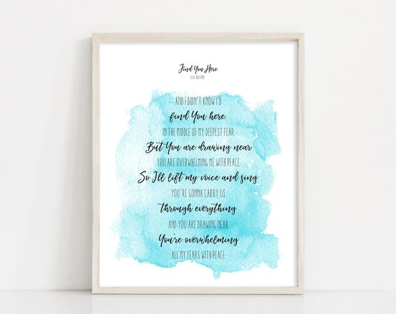 "Ellie Holcomb - Find You Here Lyric Wall Art - Watercolor Print Home Decor - 8x10"" Digital Print - Printable Art - INSTANT DOWNLOAD"
