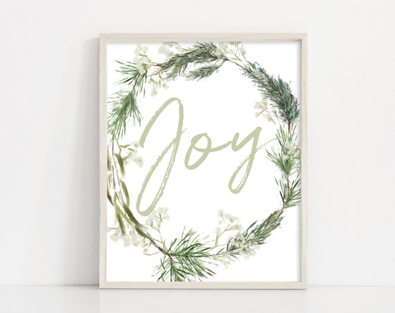 "Christmas Printable Sign, Christmas Wreath Digital Print, 8x10"" Printable Wall Art, Christmas Decor, Holiday Sign, INSTANT DOWNLOAD"