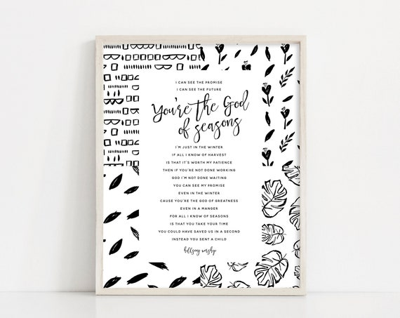 Seasons - Hillsong Lyrics Printable - Hillsong Worship - Inspirational Quote - Black and White Printable Wall Art - INSTANT DOWNLOAD
