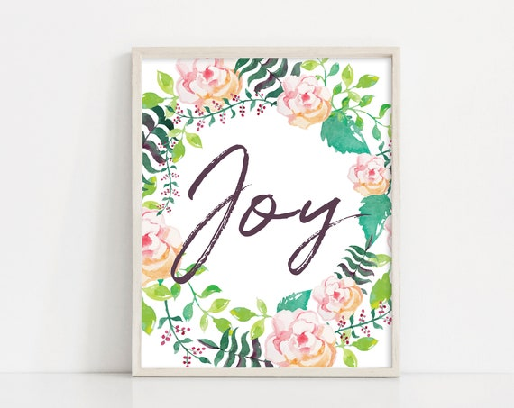 "Joy Watercolor Wreath Printable Art - 8x10"" Digital Print - Watercolor Floral Wreath - Pink Floral Quote - INSTANT DOWNLOAD"