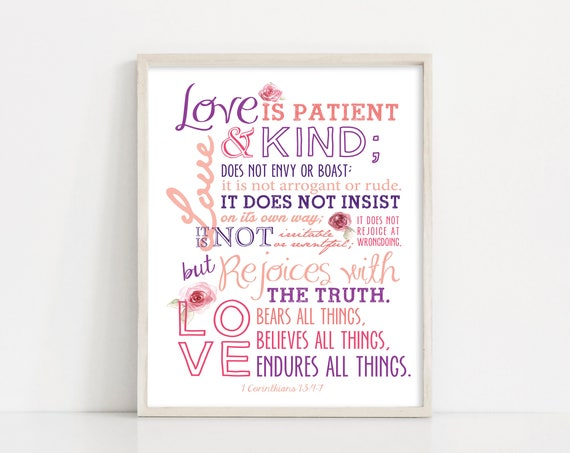 Love Printable - Love Sign - 1 Corinthians 13 Bible Verse Scripture Wall Art - Valentines Day - INSTANT DOWNLOAD Printable Art