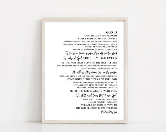 Psalm 46 Black and White Printable Art - Psalms Scripture Art - Bible Verse Wall Art - Be Still and Know that I am God - INSTANT DOWNLOAD