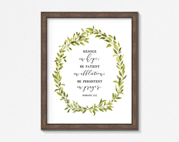 Romans 12 12 Poster/Print - Rejoice in Hope Premium Print - Watercolor Greenery - Multiple Sizes - Made to Order