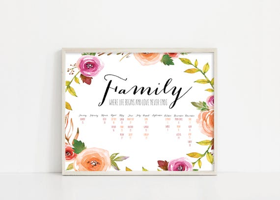 Mothers Day Printable Family Birthday Calendar - Watercolor Flowers - Digital Print - Digital Download - Gift for Grandma - Mom Gift