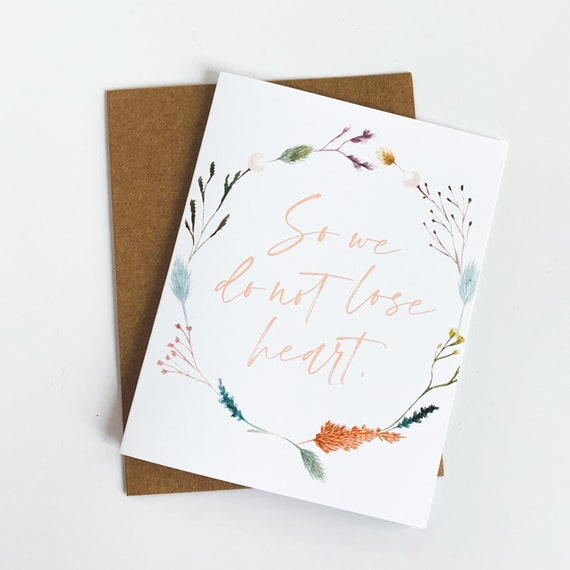 Don't lose heart Encouragement Cards, 2 Corinthians 4, Stationery Set, Blank Inside Cards, Sympathy Note Card, Encouragement Gift, Christmas