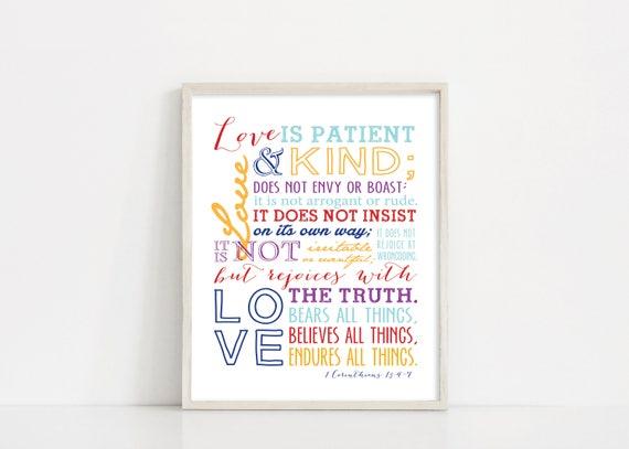 "1 Corinthians 13 Printable Art - Love Is Patient - Scripture Bible Verse Wall Art - 8x10"" Digital Print - INSTANT DOWNLOAD"