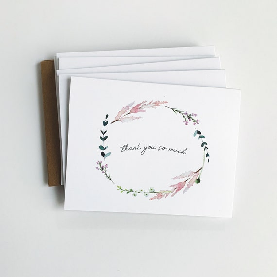 Thank you so much Note Cards, Thank you cards, Thank you stationery, Notecards, Gifts for her, Mom gift