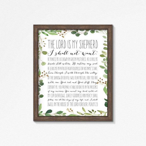Psalm 23 Vines Poster/Print - The Lord is My Shepherd Premium Print - Watercolor Greenery - Multiple Sizes - Made to Order