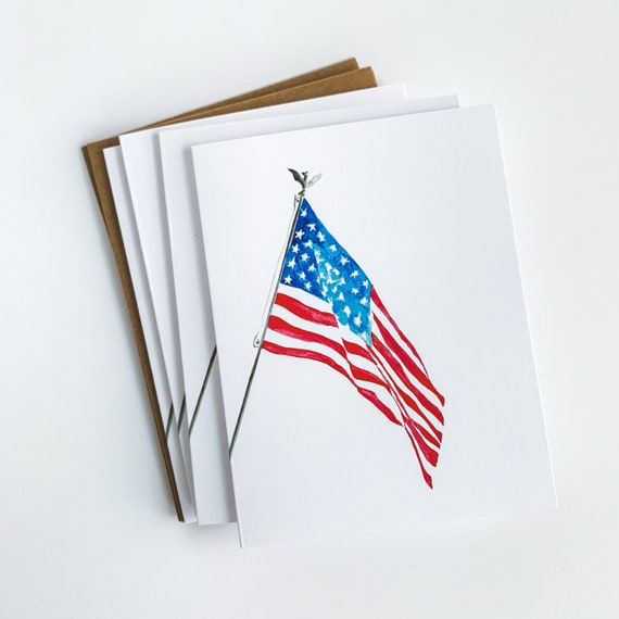 American Flag Card, USA Flag stationery, Land of the Free Because of the Brave, Military gift, Patriotic Greeting Card, Blank Inside