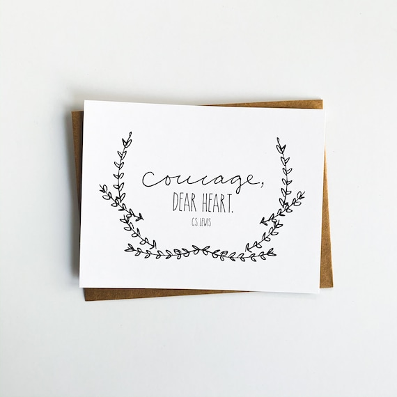 Scripture Notecards, Encouragement Cards, Courage Dear Heart, CS Lewis, Flat Stationery, Blank Back Cards, Christian Gifts