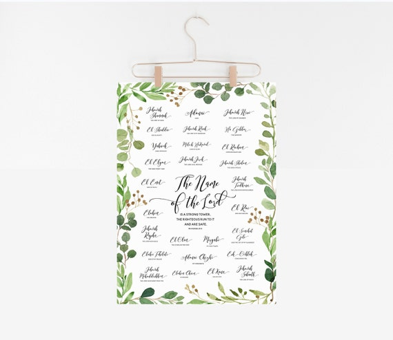 Names of the Lord Poster, Hebrew Names of God, Watercolor Greenery, Eucalyptus Watercolor, 8x10, 18x24 Digital Print, INSTANT DOWNLOAD